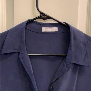 Equipment Dresses - Navy blue silk equipment dress